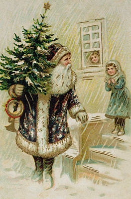 Vintage Christmas Card Print by American School