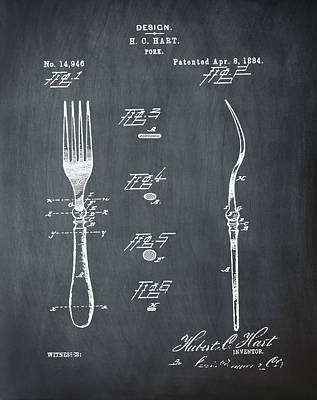 1884 Digital Art - Vintage Fork Patent 1884 In Green by Bill Cannon