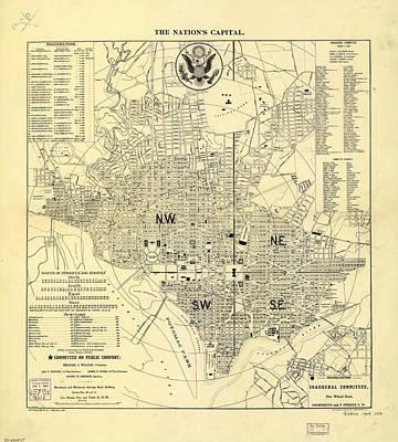 Washington D.c Drawing - Vintage Map Of Washington D.c.  by CartographyAssociates