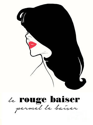 Red Lipstick Painting - Vintage Paris Fashion by Mindy Sommers