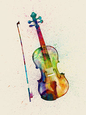 Violin Abstract Watercolor Print by Michael Tompsett