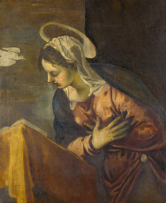 Virgin From The Annunciation To The Virgin Print by Tintoretto