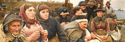 Walter Langley Painting - Waiting For The Boats by Walter Langley