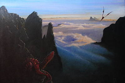 Dragon Painting - Waiting by Mike Linman