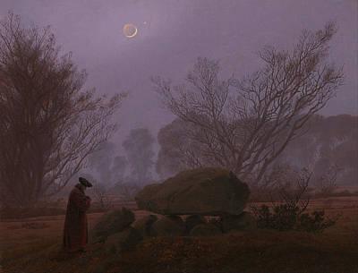 Megalith Painting - Walk At Dusk by Caspar David Friedrich