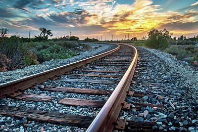 Train Tracks Photograph - Walking The Rails by Aron Kearney