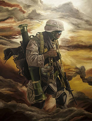 Infantryman Painting - Warrior by Annette Redman