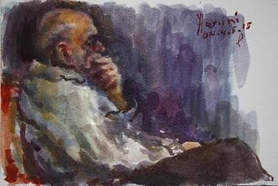 Man Watching Tv  Print by Ylli Haruni
