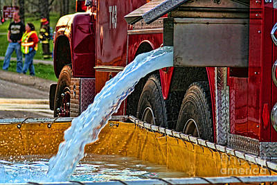 Fireground Photograph - Water Dump by Tommy Anderson