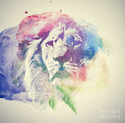 Wild Animals Photograph - Watercolor Painting Of Lion. Abstract, Colorful Art by Michal Bednarek