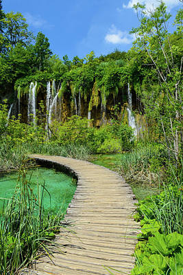 River Photograph - Waterfall And Wooden Path In Plitvice National Park In Croatia by Brandon Bourdages