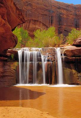 Waterfall In Coyote Gulch Utah Print by Utah Images