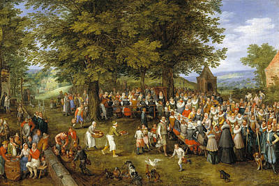Party Painting - Wedding Banquet Presided Over By The Archduke And Infanta by Jan Brueghel the Elder