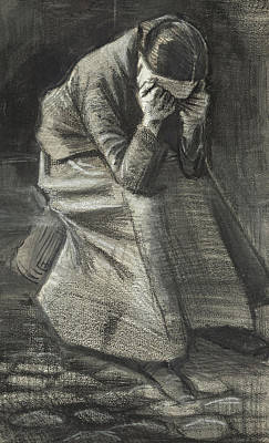 Distraught Drawing - Weeping Woman by Vincent Van Gogh
