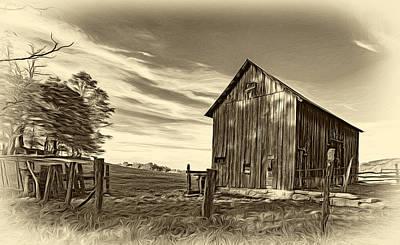 Rural Digital Art - Where Silence Lives - Sepia by Steve Harrington