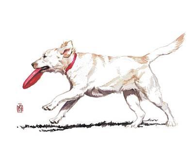 Golden Retriever Painting - White Frisbee Dog by Debra Jones
