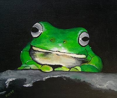 Acrylic Painting - White Lipped Green Tree Frog by Una  Miller