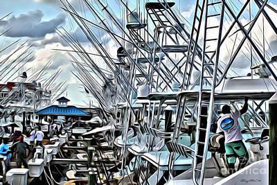 Marina Digital Art - White Marlin Open by Carey Chen