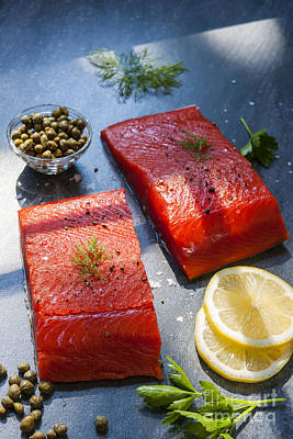 Two Piece Photograph - Wild Salmon Steaks by Elena Elisseeva