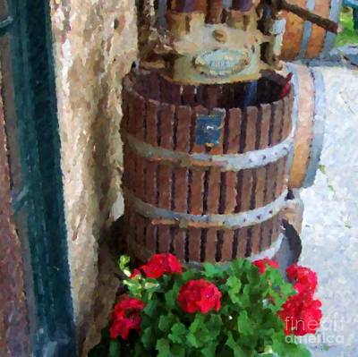 Wine And Geraniums Print by Debbi Granruth