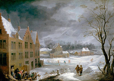 Townscape Painting - Winter Scene With A Man Killing A Pig by David Teniers the Younger