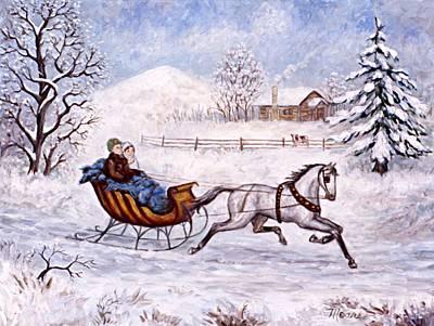Winter Sleigh Ride Print by Linda Mears