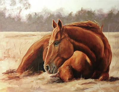 Roping Horse Painting - Winter Sunbath. by Joan Frimberger