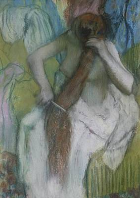 Hair-washing Pastel - Woman Combing Her Hair by Edgar Degas