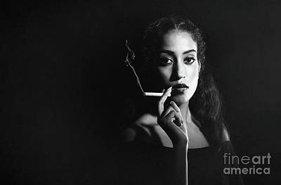 Woman Smoking Print by Amanda Elwell