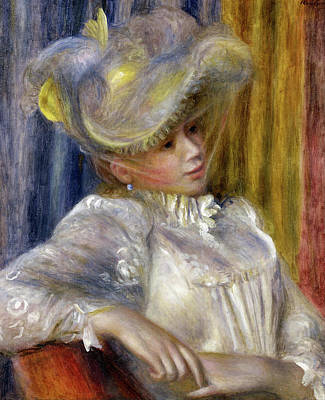 Woman Painting - Woman With A Hat by Pierre-Auguste Renoir