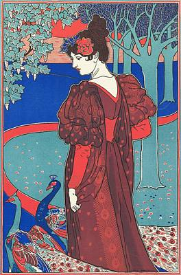 Affiche Painting - Woman With Peacocks by Louis John Rhead