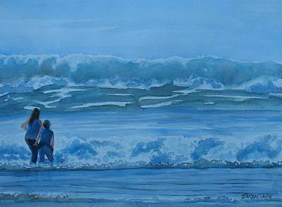 Lincoln City Painting - Women In The Surf by Jenny Armitage