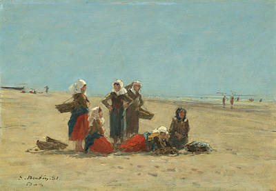 Eugene Boudin Painting - Women On The Beach At Berck by Eugene Boudin