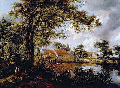 Outside Painting - Wooded Landscape With A Water-mill by Meindert Hobbema
