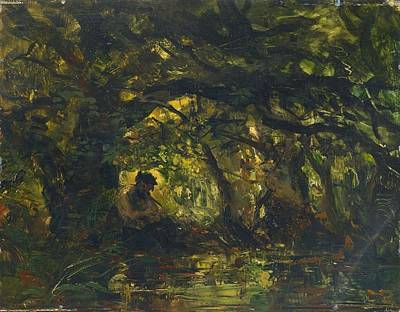Woodland Painting - Woodland Scene With Pan Playing A Flute by Carl Ebert