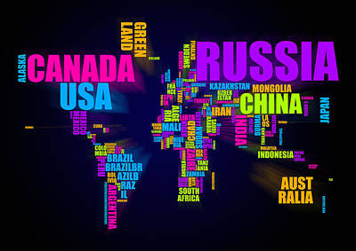 America Mixed Media - World Map In Words by Michael Tompsett