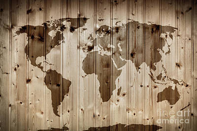 Texture Photograph - World Map On Wooden Wall. Vintage by Michal Bednarek