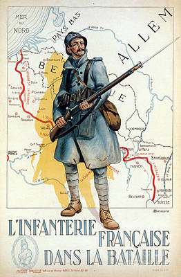 World Map Poster Photograph - World War I: French Poster by Granger