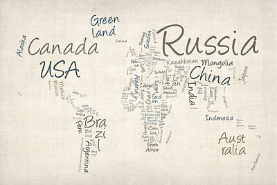 Writing Text Map Of The World Map Print by Michael Tompsett