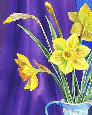 Watercolors Painting - Yellow Daffodils by Irina Sztukowski