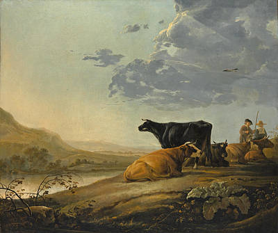 Aelbert Cuyp Painting - Young Herdsmen With Cows by Aelbert Cuyp