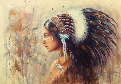 Young Indian Woman Wearing A Big Feather Headdress. A Profile Portrait On Structured Abstract Backgr Print by Jozef Klopacka