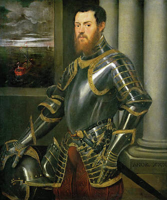 Boat Painting - Young Man In A Gold-decorated Suit Of Armour by Tintoretto