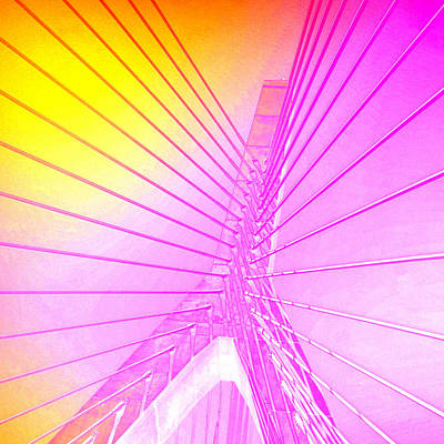 Zakim Bridge Boston V5 Print by Brandi Fitzgerald