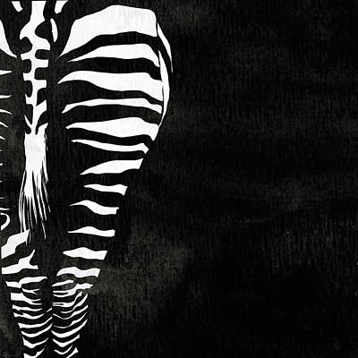 Pentaptych Painting - Zebra Animal Black And White Decorative Poster 1 - By  Diana Van by Diana Van