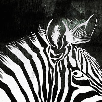 Pentaptych Painting - Zebra Animal Black And White Decorative Poster 5 - By  Diana Van by Diana Van