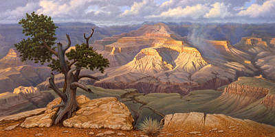 Grand Canyon Painting - Zoroaster Temple From Yaki Point by Paul Krapf