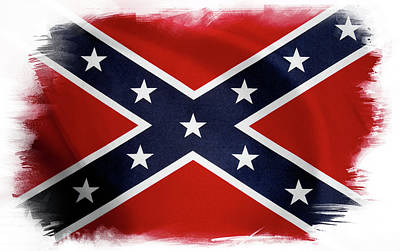 Confederate Flag Print by Les Cunliffe