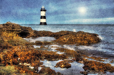 Puffin Digital Art - Penmon Lighthouse by Ian Mitchell