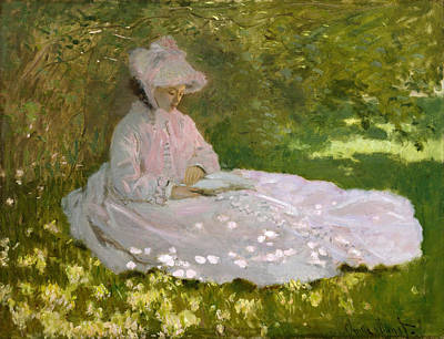 Lady Painting - Springtime by Claude Monet